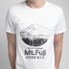 World heritage Mt.Fuji 世界遺産 富士山 - Men's Crew - designed by cool-rock using Snaptee Cool Rocks, Personalized T Shirts, Fuji, Tees, Mens Tops, Collection, Fashion, Custom Tees, Moda