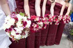 Burgundy hot pink wedding.