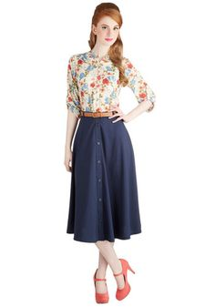 Classy Trip Skirt - Midi, Better, Blue, Woven, Long, Blue, Solid, Buttons, Belted, Work, Casual, Vintage Inspired, 50s, 40s, A-line