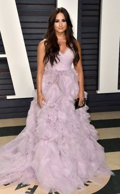 Demi Lovato from 2017 Vanity Fair Oscars After-Party  The Grammy nominee looked beautiful in a blush ruffled strapless gown.