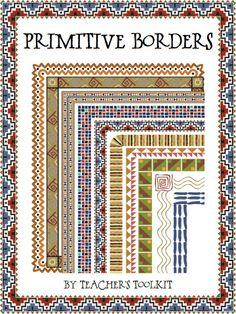 $ #Primitive-themed #Borders/Frames #Clip Art CU OK.  Useful for #Social Studies/History.