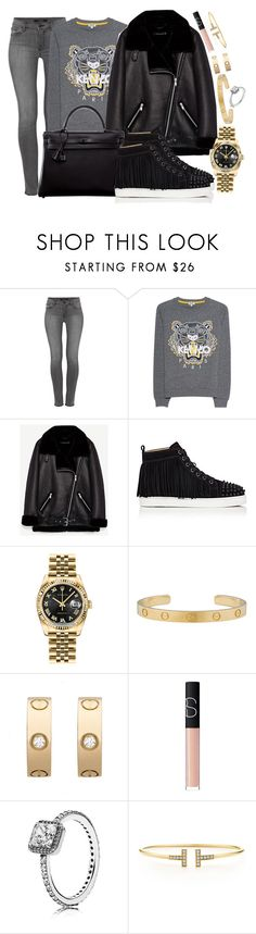 """""""BACK TO SCHOOL : Kenzo, Louboutin and Hermès"""" by camrzkn ❤ liked on Polyvore featuring J Brand, Kenzo, Hermès, Christian Louboutin, Rolex, Cartier, NARS Cosmetics and Pandora"""