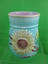 Antique English Majolica Turquoise Sunflower & Lily Spooner/Vase