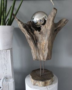 GS111 - Vase aus Teakholz! Preis 99,90€ Höhe ca 60cm Preis Edelstahlkugel 14,90€ Durchmesser 15cm