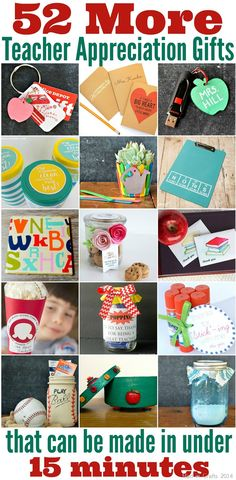 52 More Teacher Appreciation Gifts that Can Be Made in Less Than 15 Minutes. Great DIY and crafty gift ideas to give to teachers at the end of the school. Employee Appreciation Gifts, Teacher Appreciation Week, Homemade Teacher Gifts, Homemade Gifts, Easy Gifts, Creative Gifts, Creative Things, Teachers Week, Teacher Birthday