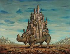 texture of rhino extends to the buildings. ancient feel. burden. (sergey tyukanov: rhinoceros city)