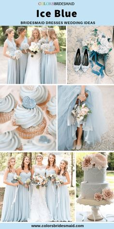 blue wedding Ice blue bridesmaid dresses long in sweetheart, one-shoulder and halter necklines, pretty with light pink wedding bouquets, cakes and shoes for weddings. Light Blue Bridesmaid Dresses, Blue Bridesmaids, Bridesmaid Color, Wedding Bridesmaids, Blue Wedding Colour Theme, Baby Blue Wedding Theme, Spring Wedding Colors Blue, Spring Wedding Cakes, May Wedding Colors