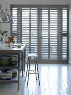 Kitchen Shutters are not just stylish, they are both practical and easy to clean. Discover our complete range of Kitchen Shutters at Shutterly Fabulous today! Kitchen Shutters, Interior Shutters, Wooden Shutters, Window Shutters, Gray Interior, Shutter Colors, Board And Batten Shutters, Painting Shutters, Asian Architecture