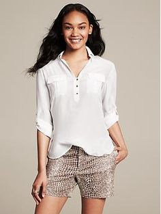 Heritage Silk Roll-Sleeve Utility Blouse