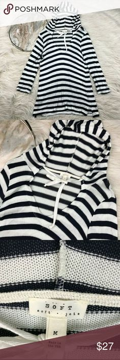 "Soft Joie Striped Pullover Knit Hoodie Soft by Joie striped knit pullover hoodie. Women's size medium, gently used with no flaws.   armpit to armpit- 17"" length- 28"" Joie Sweaters"