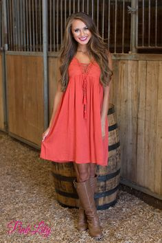 Couldn't Love You More Dress Rust - The Pink Lily