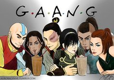 Gaang ~ auroralynne    Casually notices how Sokka and Katara in the middle of their respected shipping triangles.