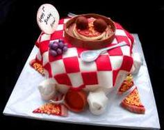 Pizza and Italian Food Themed Fondant Cake with Edible Chef Hats, Copper Pots, Grapes, Spagetti side view Fondant Cake Designs, Fondant Cakes, Cupcake Cakes, Italian Wedding Cakes, Italian Cake, Beautiful Cakes, Amazing Cakes, Chef Cake, Travel Cake