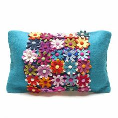 A feature piece for any home. Be the envy of friends and foes with this sitting pretty on your sofa. A profusion of felt petals adorn this amazing home furnishing item. Zip on reverse side and it comes with the cushion x Crochet Fabric, Felt Fabric, Fabric Scraps, Scrap Fabric, Handmade Cushion Covers, Handmade Cushions, Floral Cushions, Embroidered Cushions, Sewing Pillows