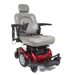 This grey and red power wheelchair looks like it would be really helpful for getting around. My mom is in a wheelchair, and she has been finding it rather hard to push herself around lately. I should help her find a powered one like this to make it easier for her to go places.