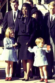 November 1963 Jackie, Caroline, John Jr., Robert F.  and Ted Kennedy at JFK's Funeral.