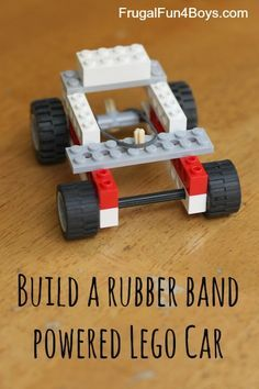 A rubber band powered Lego car - fun! The post shows two different ways to build one. Fun project for a Lego party, or to do with friends.