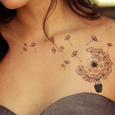 Dandelion tattoo - This is a unique dandelion tattoo shaped as a hot air balloon. #TattooModels #tattoo