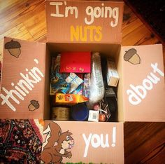 Nuts for You or Brown Colored College Care package College Gift Baskets, College Gifts, College Notes, Orange Gift Basket, Halloween Care Packages, Diy Gifts, Great Gifts, Deployment Care Packages, Box Of Sunshine