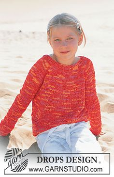 Ravelry: Girls' Pullover pattern by DROPS design Sewing Patterns Girls, Easy Sweater Knitting Patterns, Cast On Knitting, Knitting For Kids, Crochet For Kids, Free Knitting, Raglan Pullover, Magazine Drops, Drops Design