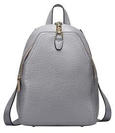 AINISI Womens New Fashion Grey Genuine Leather Backpacks…