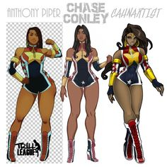 """Wondy - ❤️-""""Wondeisha"""" from Trill League renditions, courtesy of Anthony Piper (left), Chase Conley (middle), and Harvey Cahn (right). Sexy Black Art, Black Love Art, Black Girl Art, Black Cartoon Characters, Superhero Characters, Female Character Design, Character Design Inspiration, Anime Sensual, Black Comics"""