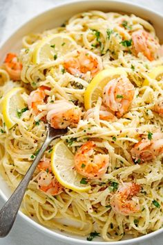 Four Kitchen Decorating Suggestions Which Can Be Cheap And Simple To Carry Out Shrimp Pasta With Lemon Cream Sauce - An Easy Weeknight Friendly Pasta Dinner Thats Got The Most Delicious Lemon Cream Sauce Littlespicejar Shrimp Recipes For Dinner, Shrimp Recipes Easy, Healthy Recipes, Seafood Recipes, Cooking Recipes, Low Fat Dinner Recipes, Prawn Recipes, Sauce Recipes, Cooking Tips