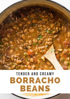 Tender and creamy Borracho Beans (or Frijoles Borrachos) are an easy Mexican dish made from pinto beans simmered in a beer broth with bacon onions tomatoes and spices. Serve with a side of cornbread or flour tortillas for the perfect Tex-Mex dinner! Easy Mexican Dishes, Authentic Mexican Recipes, Mexican Dinner Recipes, Mexican Cooking, Vegetable Recipes, Vegetable Sides, Vegetarian Recipes, Cooking Recipes, Pinto Beans