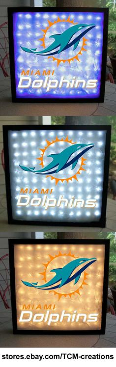 NFL National Football League Miami Dolphins shadow boxes with LED lighting & multiple colored vinyl decals
