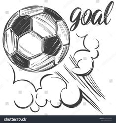 Football soccer ball sports game calligraphic vector image on VectorStock Art Football, Soccer Art, Pencil Art Drawings, Easy Drawings, Soccer Drawing, Cartoon Cupcakes, Ball Drawing, Sports Wallpapers, Soccer Shirts