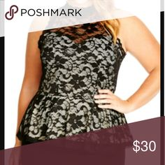 Gorgeous Lace Peplum Top Size 14 XS Gorgeous peplum kace top. Fit is very figure flattering and very true to size. The fabric does have some stretch to it, so it fits well. By City Chic.  Size XS which is a 14. City Chic Tops
