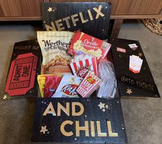 Netflix and Chill Care Package- Air Force deployment, movie night care package, admit one card, popcorn and favorite movie theater candies/snacks Movie Basket Gift, Movie Night Gift Basket, Date Night Gifts, Movie Gift, Summer Gift Baskets, Movie Night Snacks, Netflix Gift, Popcorn Gift, Netflix And Chill