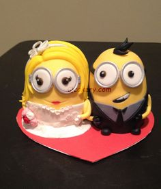 Wedding Minions Edible Customized Fondant Icing Wedding Cake Topper Decoration by QCakery on Etsy