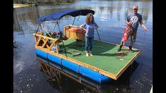 My Cheap Homemade Pontoon with Magnet Fishing, Fish Fishing, Golf, and Kayaking. Pontoon Dock, Fishing Pontoon, Pontoon Boats, Bass Fishing, Lake Floats, Shanty Boat, Magnet Fishing, Floating Dock, Diy Boat