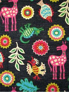 "Mexicali Desert Flower.  Waverly Fabric - Hacienda Haven Collection 100% cotton multi purpose decorator fabric. V 18""-H 18"" repeat. 54"" wide."