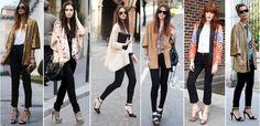 looks de trabalho com calça jeans preto - Pesquisa Google