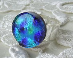 Dichroic Ring Dichroic Jewelry Fused Glass by GalaxyGlassStudio, $20.00