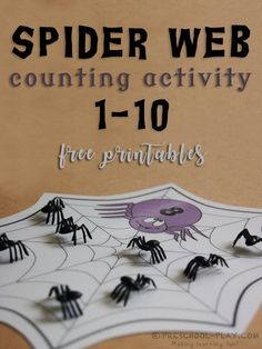 Free Printable Spider Web Counting Activity - This free activity is a fun way for preschoolers to exhibit number sense. It incorporates number quantity, counting, correspondence, and number recognition. Welcome To Preschool, Fall Preschool, Preschool Math, Kindergarten Math, Halloween Preschool Activities, Halloween Math, Homemade Halloween, Halloween Ideas, Halloween Decorations