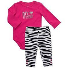 "Amazon.com: Carter's Girls 2 Piece Hot Pink/Black Pants Set ""My (heart) Belongs to Daddy): Clothing"