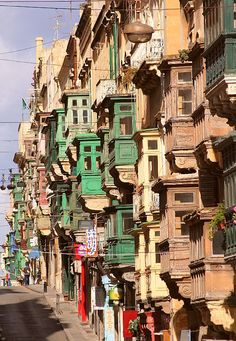 Windows of Valletta - the balconies of Republic Street, Valletta, Malta