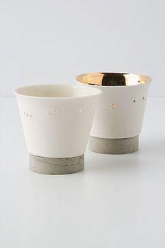 gold + porcelain + cement--moongleam votive