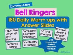 Engage your students at the start of class with these dynamic Common Core Bell Ringers! The attractively-designed PowerPoint slides provide 5-7 minute practice activities that get students thinking and allow for those important teachable moments! This product contains 343 slides, including 180 Warm Ups and corresponding Answer and Teacher Directions slides --A FULL YEAR'S WORTH of Common Core-aligned Daily Warm Ups!