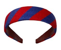 Smathers and Branson Blue and Red Stripe Needlepoint Headband. NEED!