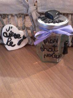 gatto nero barattolo decorativo e  piastrella di Pinkincloud