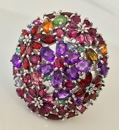 'BOUQUET' Huge Gem Cocktail Ring Sterling Silver & Gold Size 9.5  gemstone rings, multi fire gemstone rings,