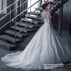 Vintage Long Sleeve Lace Wedding Dress Bridal Gown Custom 4/6/8/10/12/14/16/18+