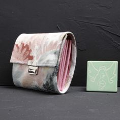 handmade small women wallets leather with flowers