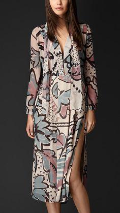 Burberry Floral Print Layered Silk Smock Dress