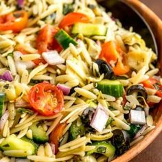 This classic orzo pasta salad is a colorful mix of fresh chopped veggies with tender orzo pasta and coated in a flavorful homemade lemon-dijon vinaigrette. Pasta Salad For Kids, Healthy Pasta Salad, Easy Pasta Salad Recipe, Healthy Salad Recipes, Dip Recipes, Cooking Recipes, Pasta Primavera, Fusilli, Shawarma