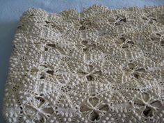 Beautiful Antique Popcorn Stitch Hand Crocheted Bedspread ~ 84 x 130 inches, cotton
